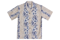 Milson Mens Creme Pacific Flower Aloha Shirt