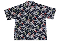 Wave Shoppe Men's Floral Hawaiian Shirt with Surfboards