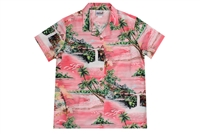 Wave Shoppe Womens Pink Hawaiian Shirt with Waterfalls and Islands