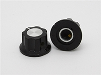 Small Black Fluted Knob with Aluminum Center