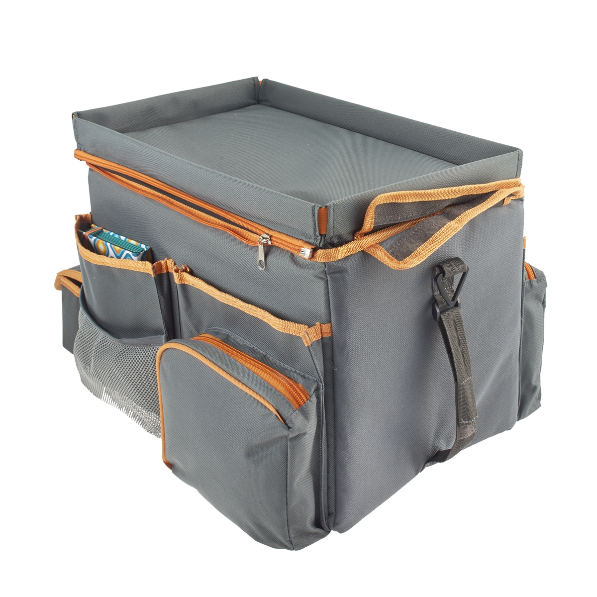 a car seat organizer cooler drink station and snack tray with lots of storage for games. Black Bedroom Furniture Sets. Home Design Ideas