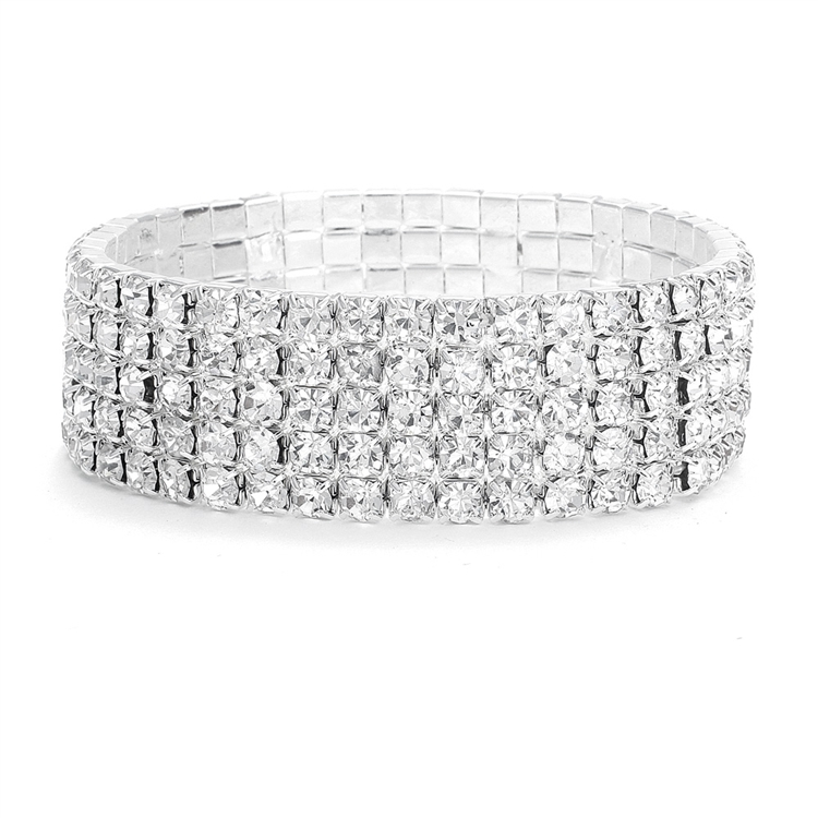 5-Row Stretch Rhinestone Bracelet<br>1009B
