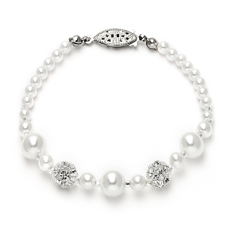 Dainty Wedding Bracelet with Pearls & Rhinestone Fireballs - White<br>1125B-W-S
