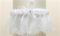 Organza Bridal Garters with Pearls and Chain Edging - White<br>1255G-W-W