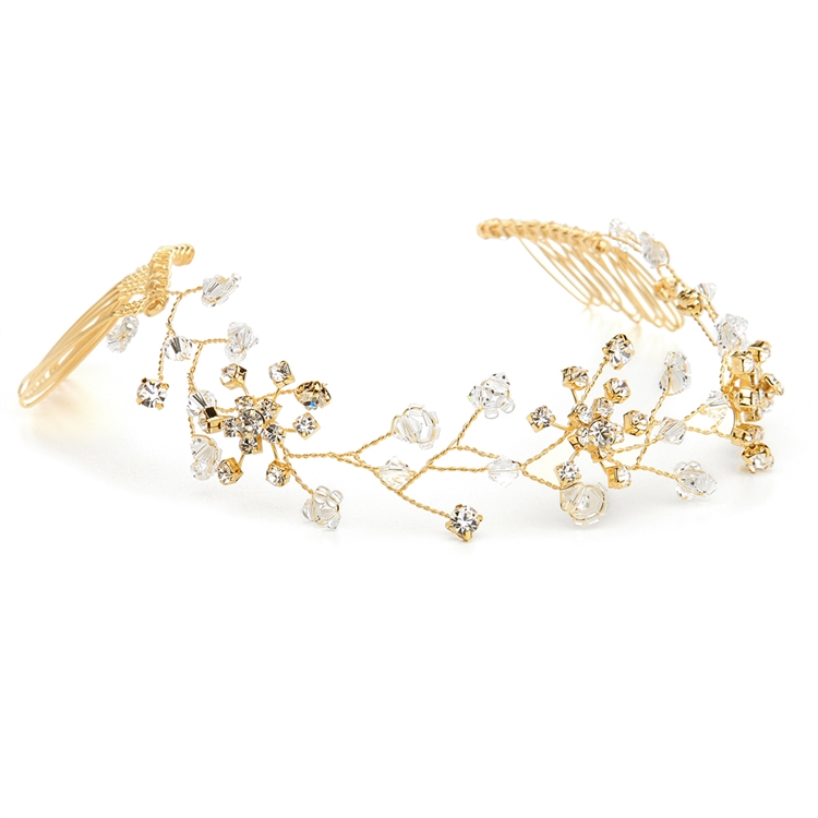 Swarovski Crystal Bridal Tiara Vine in Gold<br>1402H-G