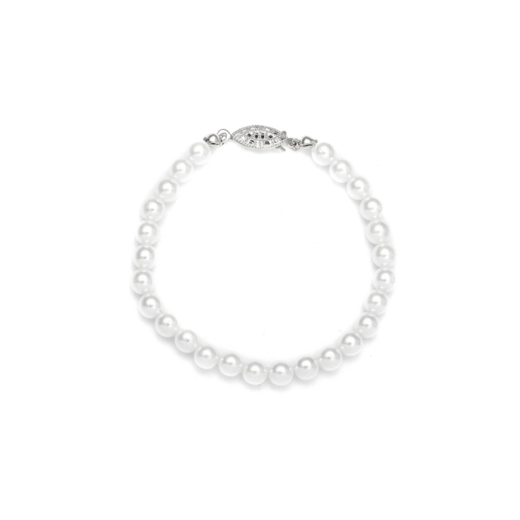 Single Strand 6mm Pearl Wedding Bracelet<br>182B