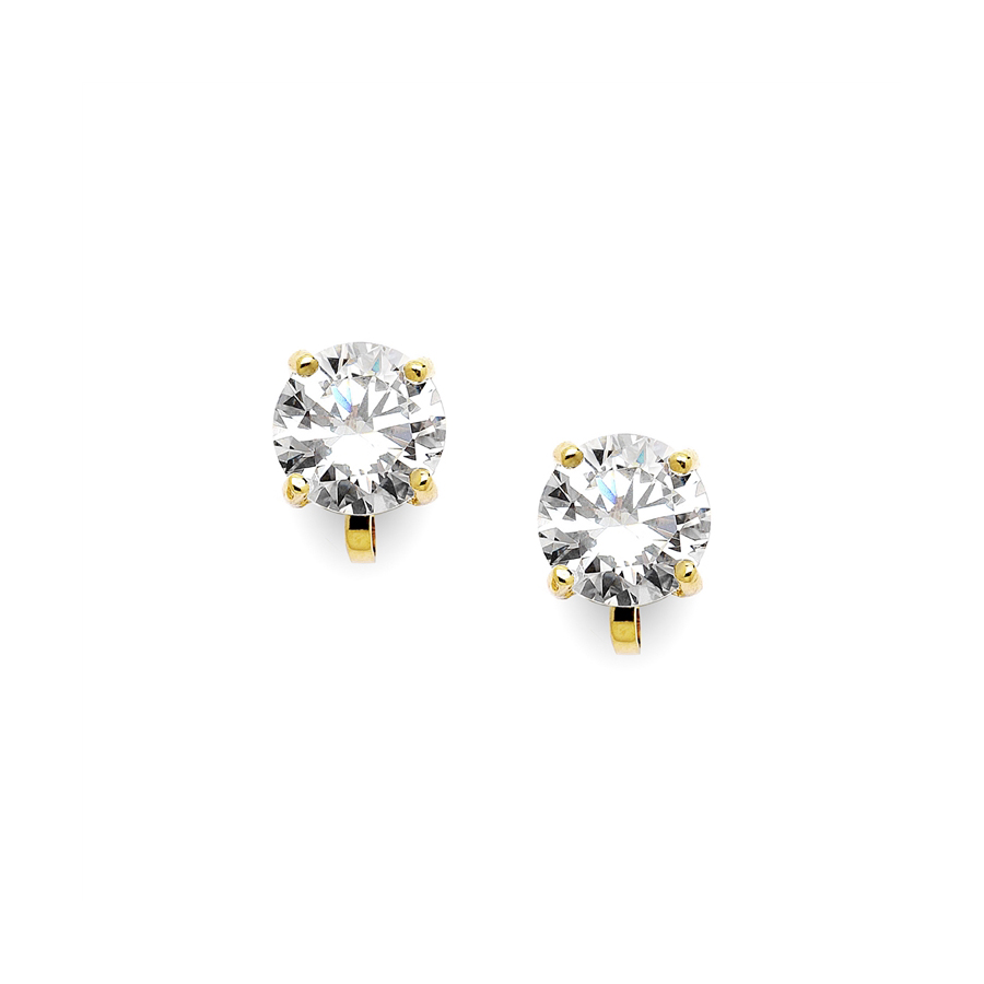 Gold Clip-On Earrings with 2 Carat 8mm CZ Solitaire<br>2002EC-G