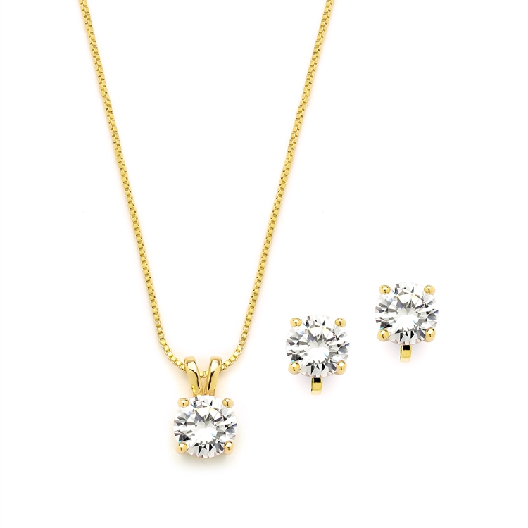 14K Gold Plated CZ Pendant Necklace and Clip-On Earrings Set<br>2002S-G