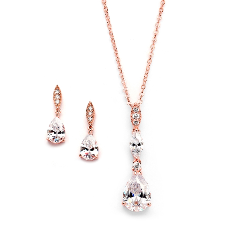 Rose Gold Bridal Necklace Set with Pave Top & Cubic Zirconia Pears<br>2030S-RG