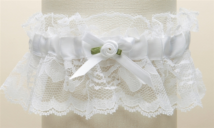 Hand-Sewn Vintage Lace Wedding Garters - White<br>205G-W-W