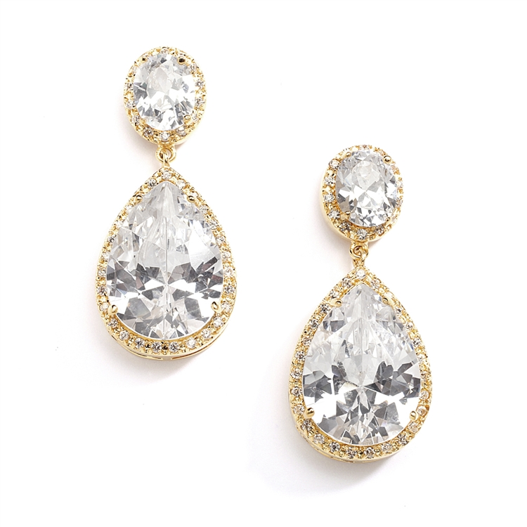Best-Selling Cubic Zirconia 14K Gold Plated Pear-Shaped Bridal Earrings with Clip Back<br>2074EC-G