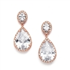 Best-Selling Cubic Zirconia Rose Gold Pear-Shaped Bridal Earrings with Clip Back<br>2074EC-RG