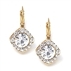 Tailored Crystal Solitaire Gold Drop Earrings<br>209E-CR-G