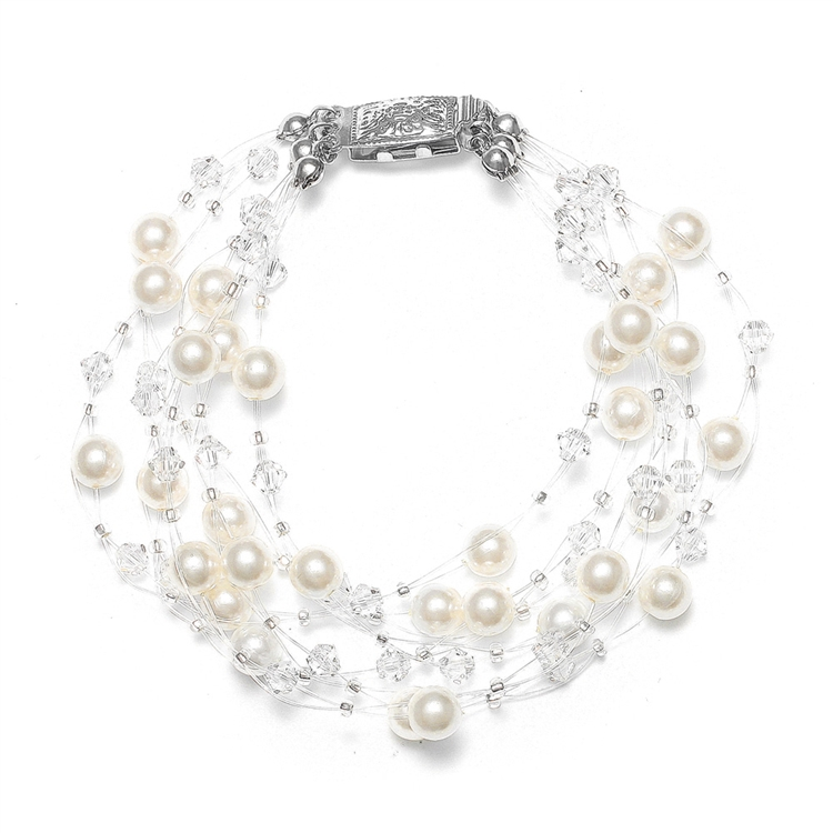 Lavish 6-Row Pearl & Crystal Bridal Illusion Bracelet<br>2101B