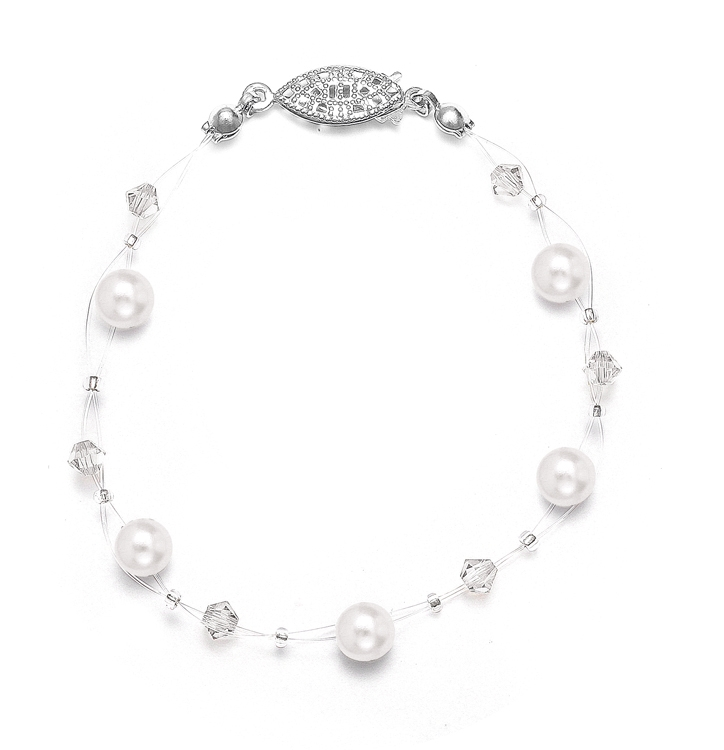 Pearl & Crystal Bridal or Bridesmaids Illusion Bracelet<br>234B
