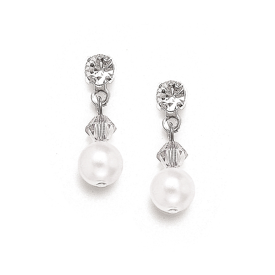 Classic Pearl & Crystal Drop Bridal or Bridesmaids Earrings<br>234E