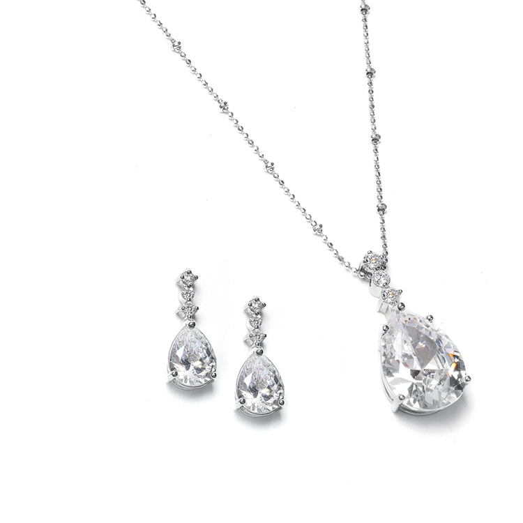 Brilliant CZ Pear Shaped Drop Necklace Set<br>293S-CR