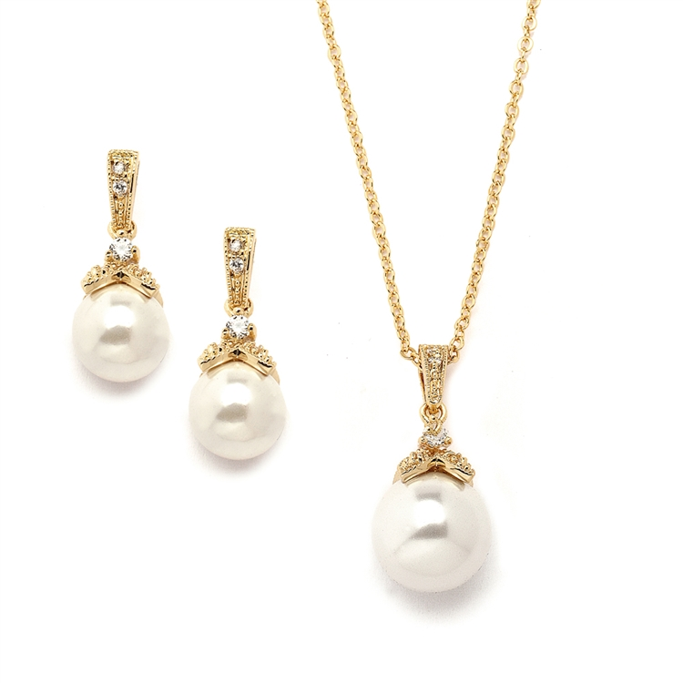 Gold Pearl Drop Necklace Set with Vintage CZ<br>3045S-G