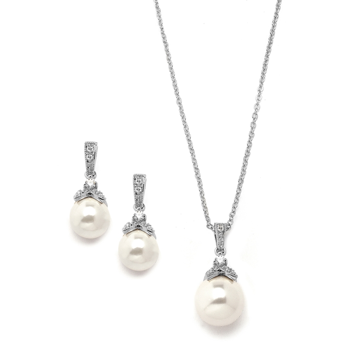Pearl Drop Necklace Set with Vintage CZ<br>3045S-S