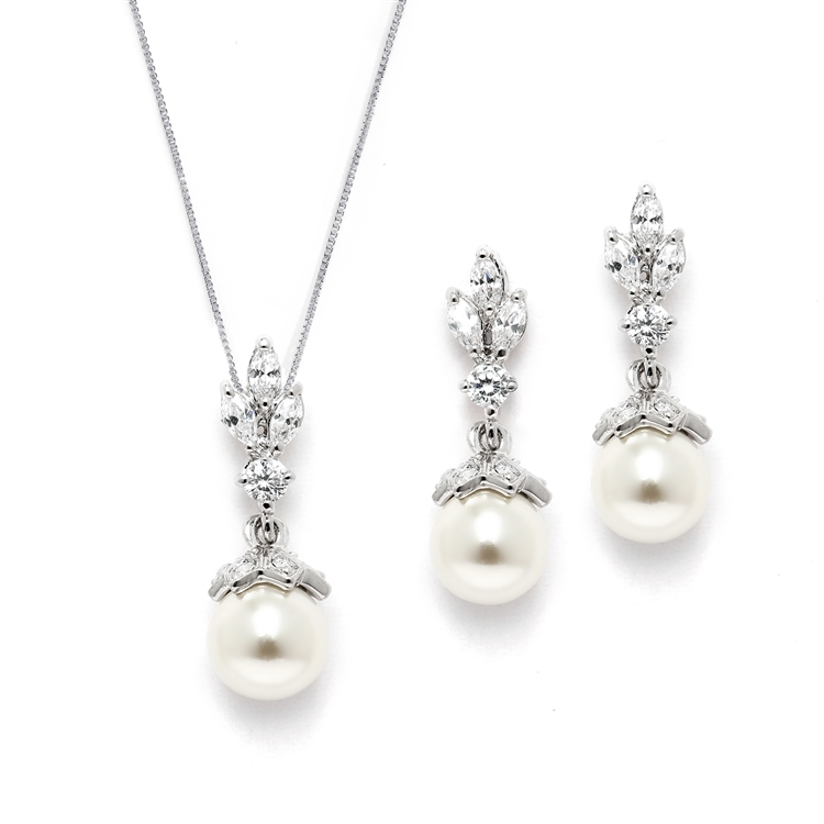 Light Ivory Pearl Drop Vintage Bridal & Wedding Jewelry Set with Marquis CZ<br>304S-S
