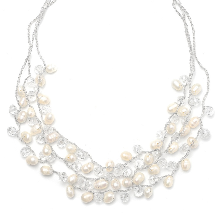 Genuine Freshwater Pearls 3-Row Bridal Necklace<br>3132N