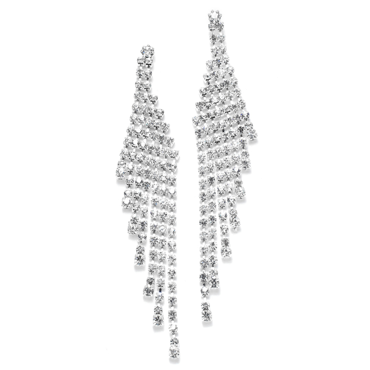 Cascading Rhinestone Prom or Wedding Earrings<br>3467E
