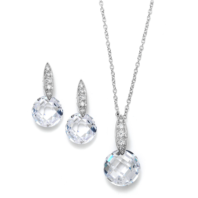 Faceted Crystal Drop Necklace and Earrings Set with Cubic Zirconia<br>3531S
