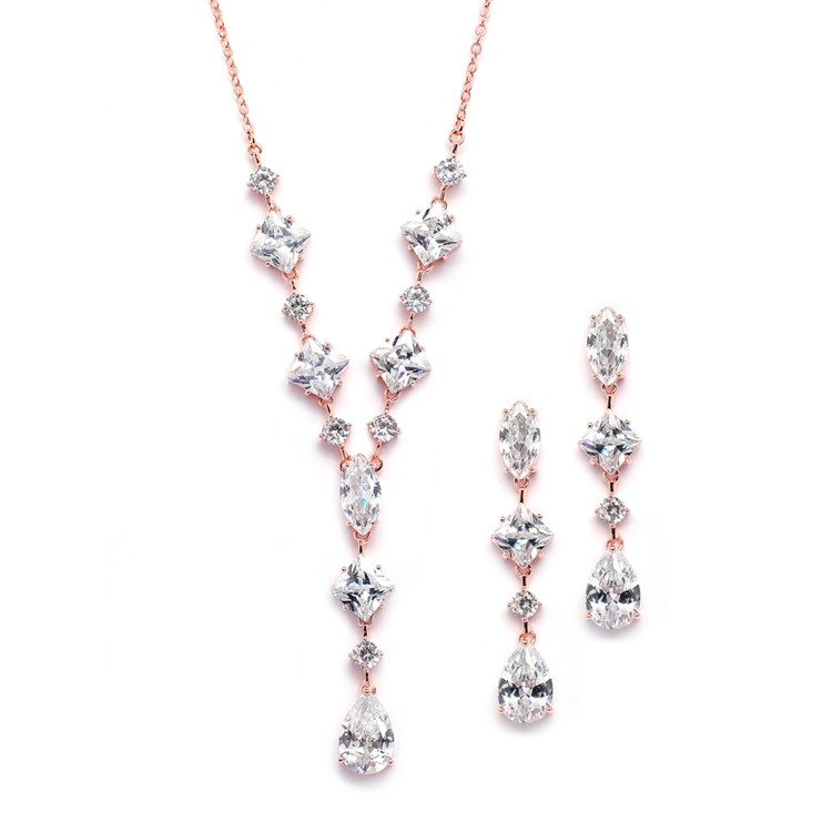 Glamorous Rose Gold Mixed Cubic Zirconia Wedding Necklace & Earrings Set<br>3564S-CR-RG