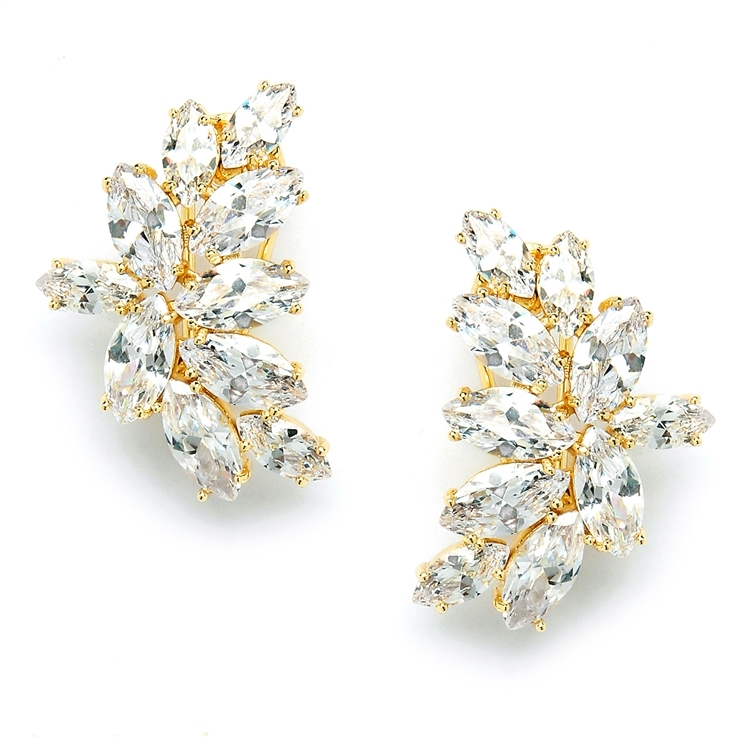 Shimmering Cubic Zirconia Marquis Cluster Gold Earrings<br>3598E-G