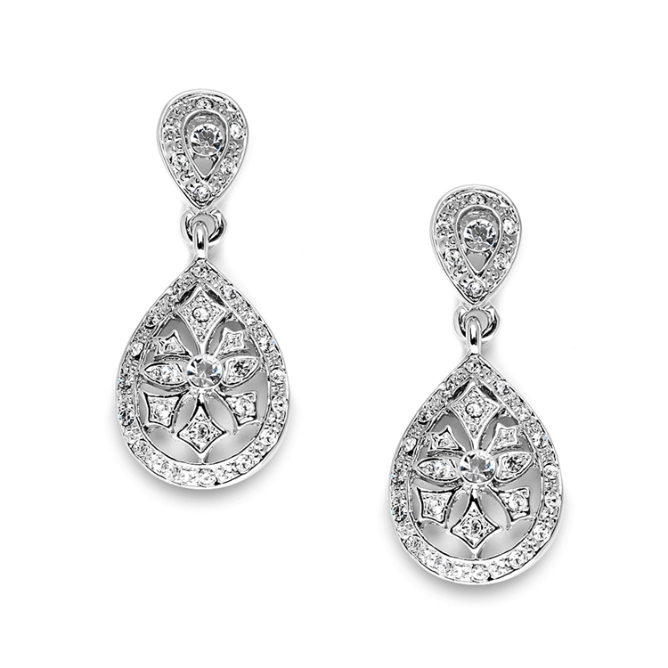 Vintage Etched CZ Wedding or Bridesmaids Drop Earrings<br>3649E