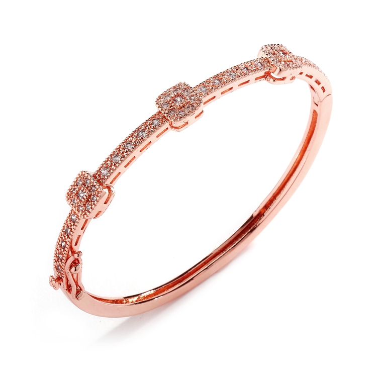 Rose Gold Vintage Cubic Zirconia Delicate Wedding Bangle<br>3723B-RG