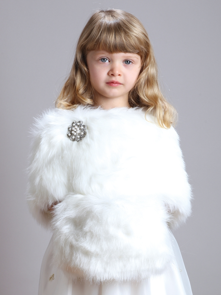Children's Ivory Faux Fur Hand Muff for Winter Weddings<br>3825M-I