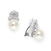 Cubic Zirconia & Soft Cream Pearl Clip-On Wedding Earrings<br>3827EC