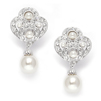 Art Deco Cubic Zirconia &  Pearl Drop Wedding Earrings<br>3830E