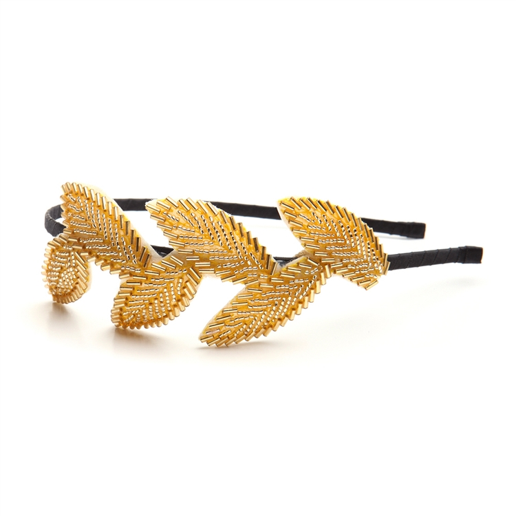 Garland Headband with Golden Beaded Leaves<br>3864HB-G