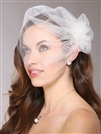 White Tulle Birdcage Veil Bridal Cap with Side Pouf & Stamen Accents<br>3908V - White