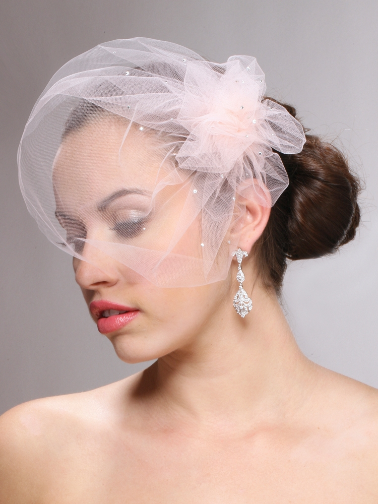 Ivory or White Tulle Birdcage Veil with Swarovski Crystals<br>3931V