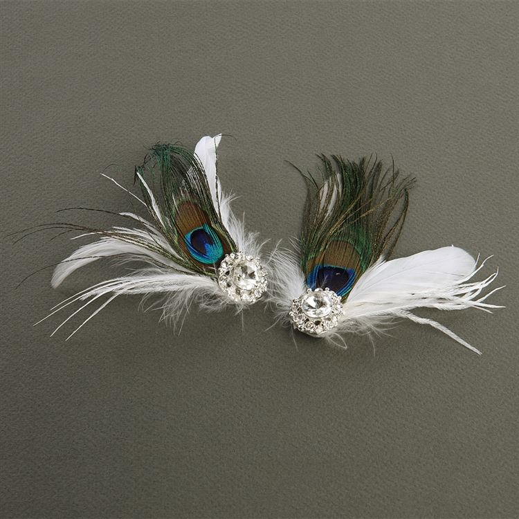 Super Value - Peacock Feather - White Marabou Shoe Clips with Crystal<br>3957SC-W