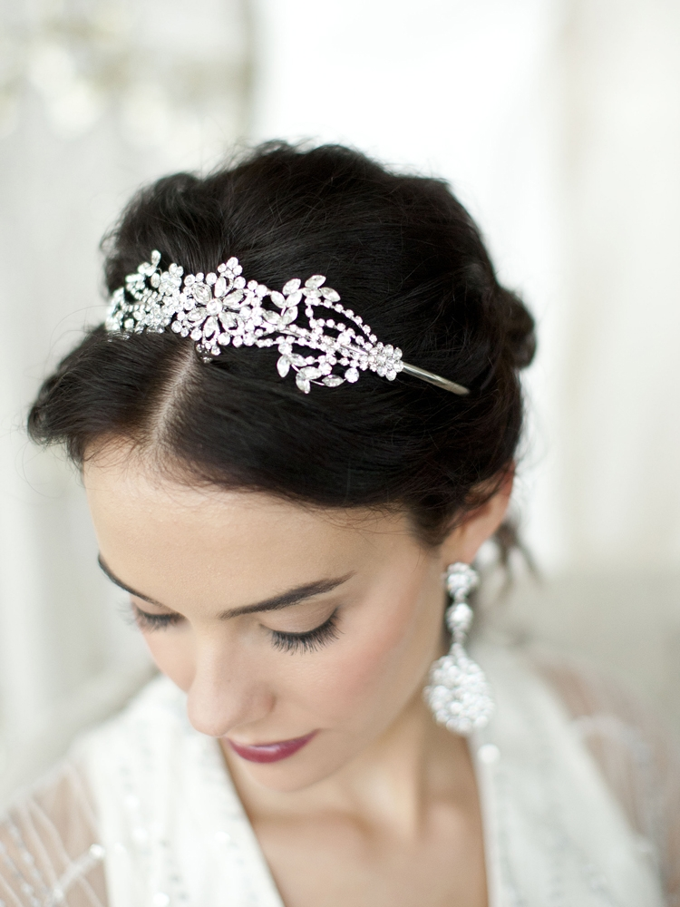 Popular Crystal Wedding Headband or Tiara with Vintage Art Deco Floral Design<br>4008HB