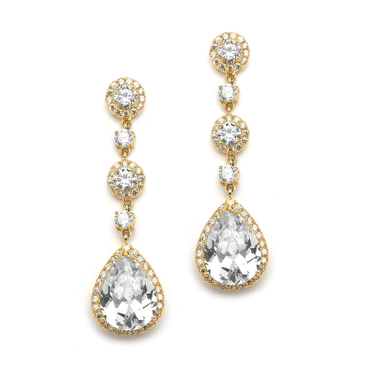 Best-Selling Gold Pear-Shaped Drop Bridal Earrings with Pave CZ<br>400E-G