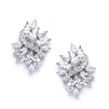 Cubic Zirconia Cluster Wedding Earrings with Delicate Marquis Stones<br>4014E-S