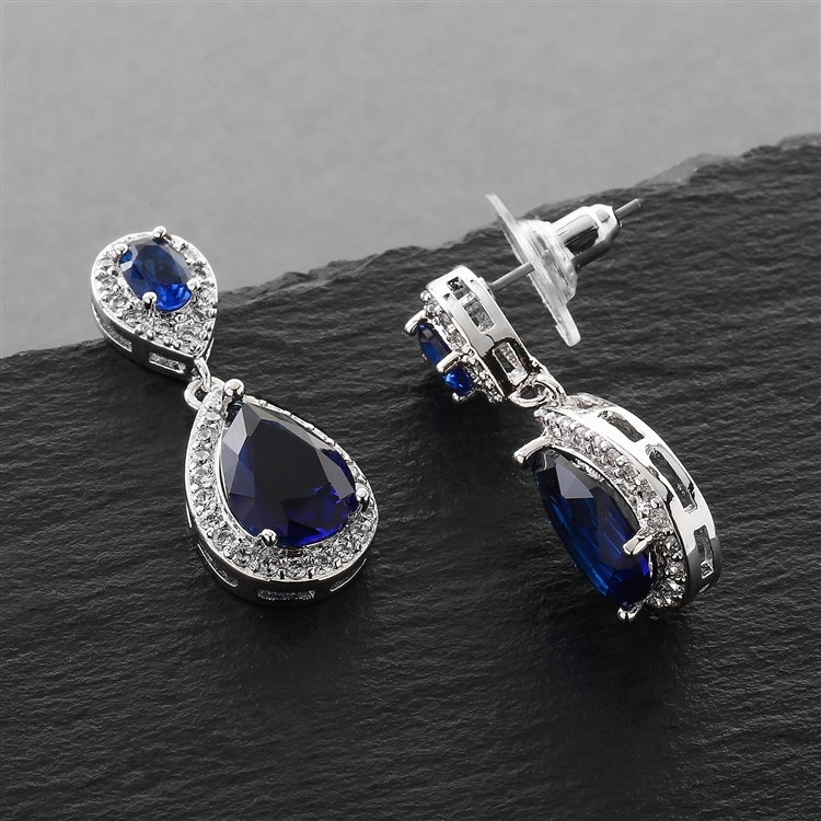 Top-Selling Sapphire Cubic Zirconia Teardrop Wedding or Bridesmaids Earrings<br>4036E-SA