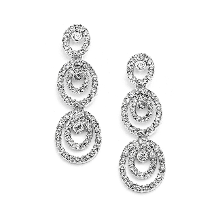 Concentric Ovals Wedding or Prom Dangle Earrings with Cubic Zirconia<br>4066E-S