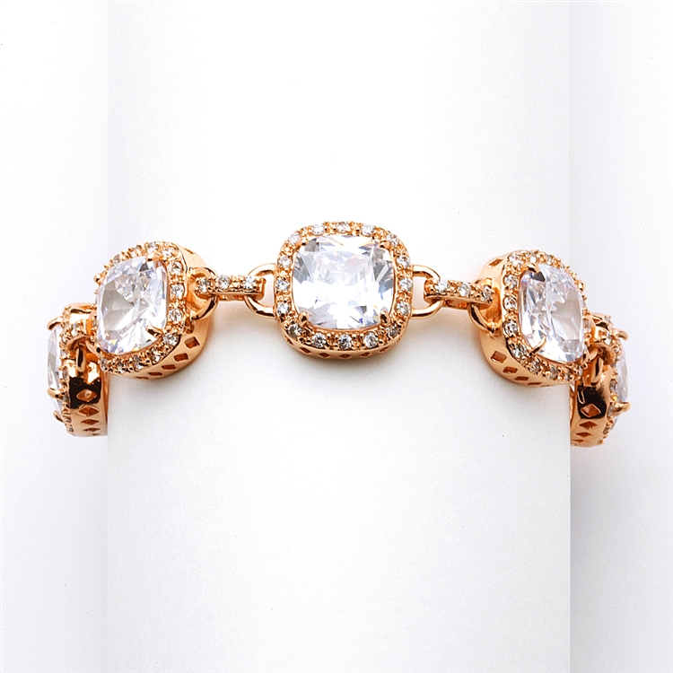 Magnificent Rose Gold Petite Length Cushion Cut CZ Bridal or Pageant Bracelet<br>4069B-RG-6