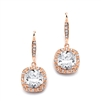 Magnificent Cushion Cut CZ Bridal or Pageant Earrings in Rose Gold<br>4069E-RG