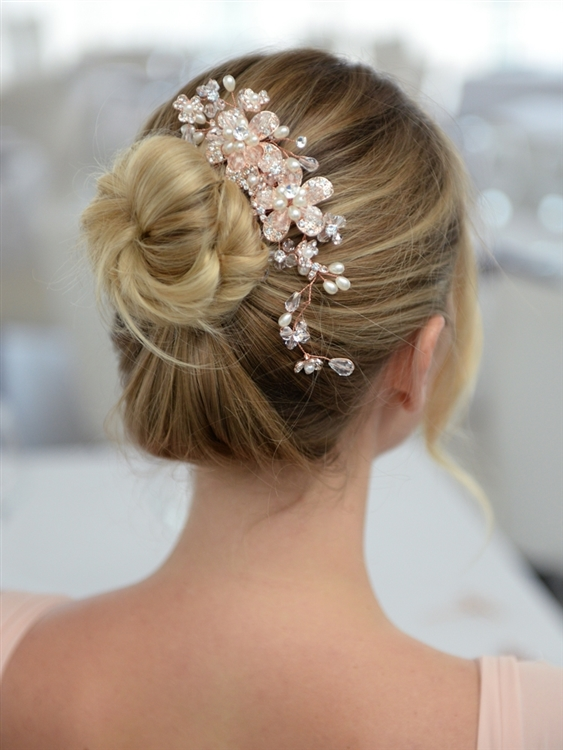 Fabulous Rose Gold Wedding or Brides Hair Comb with Pearl and Crystal Sprays<br>4071HC-RG