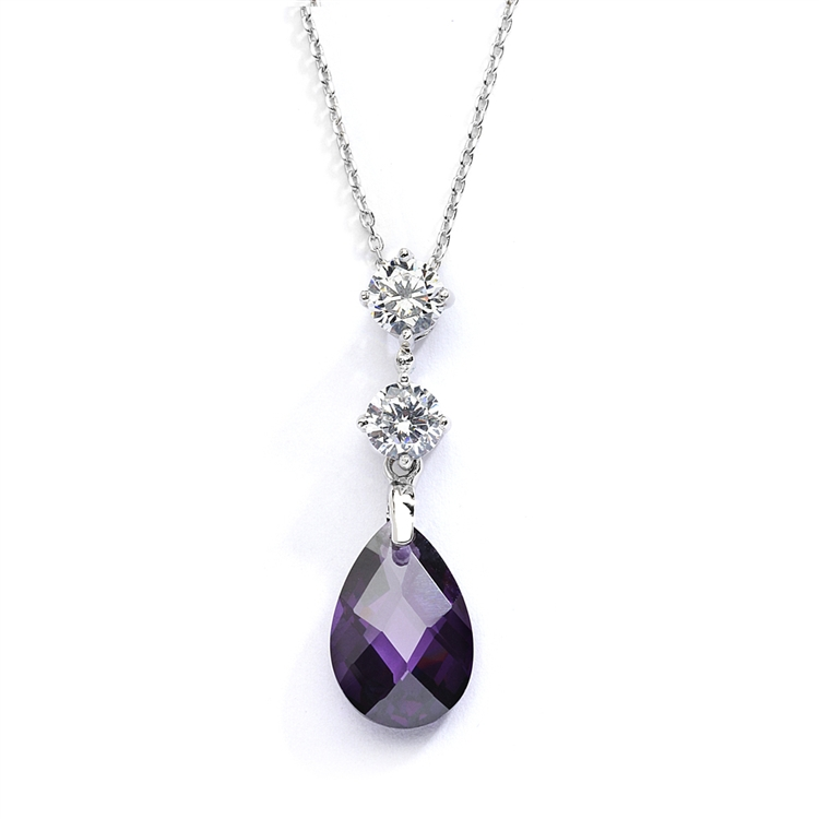 CZ Bridal or Bridesmaids Necklace Pendant with Amethyst Crystal Drop<br>4078N-AM