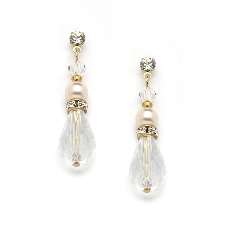 Crystal Teardrop Wedding, Prom or Bridesmaids Earrings with Ivory & Gold<br>4079E-I-CR-G