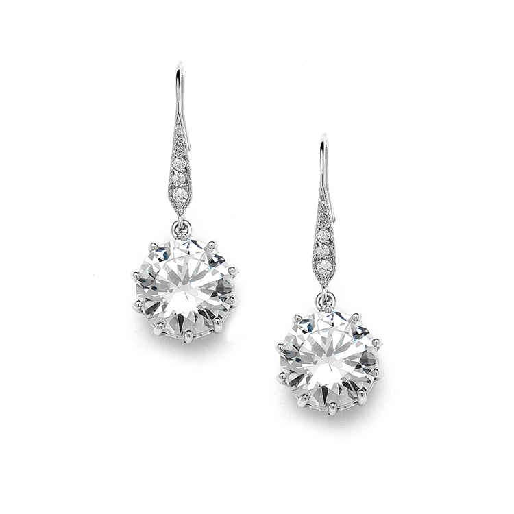 Bridal, Prom or Bridesmaids Bling CZ Drop Earrings<br>4083E
