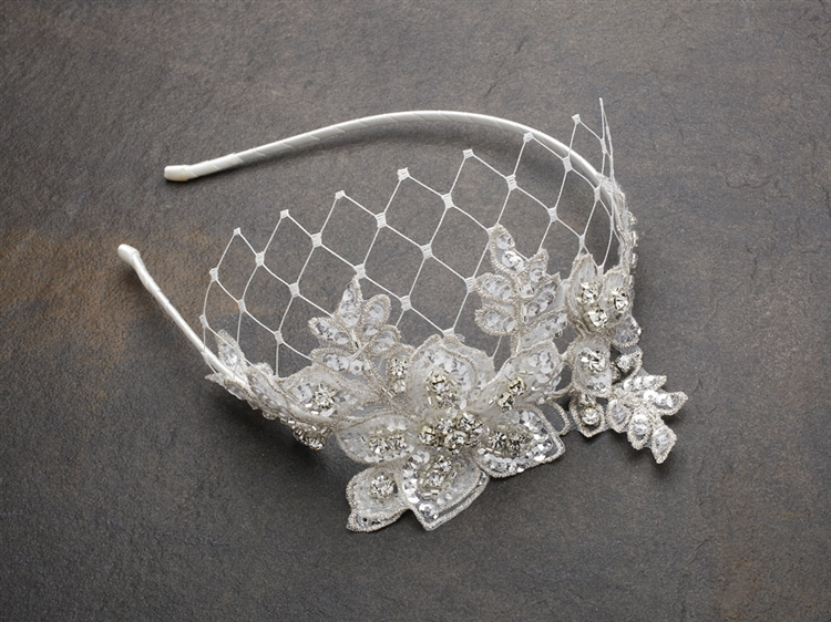 Luxurious Crystal Embellished Lace Wedding Headband with Wide Netting<br>4086HB-I